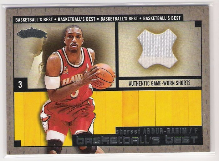 2002-03 FLEER SHOWCASE BASKETBALLS BEST SHAREEF ABDUR-RAHIM HAWKS GAME-WORN SHORTS CARD