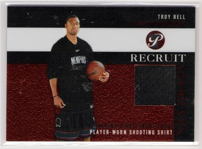 2003-04 TOPPS PRISTINE RECRUIT TROY BELL GRIZZLIES PHOTO SHOOT SHOOTING SHIRT CARD
