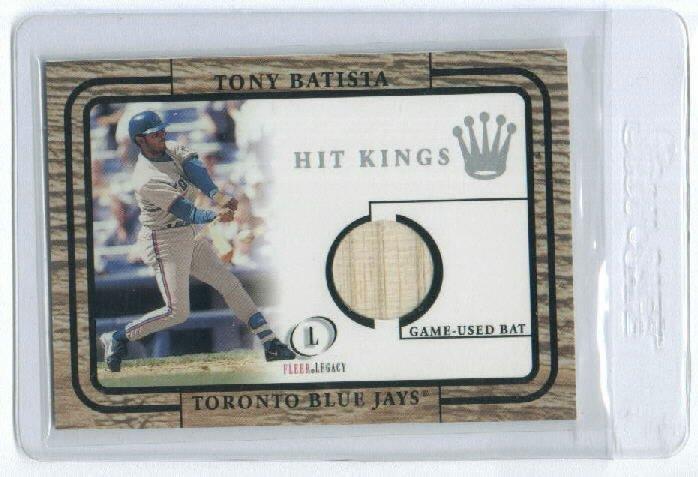 2001 FLEER LEGACY HIT KINGS TONY BATISTA BLUE JAYS GAME-USED BAT CARD