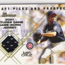 2001 BOWMAN DRAFT PICKS & PROSPECTS JUAN CRUZ CUBS FUTURES GAME-WORN JERSEY CARD