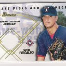 2001 BOWMAN DRAFT PICKS AND PROSPECTS NICK REGILIO RANGERS RELICS GAME-WORN JERSEY CARD