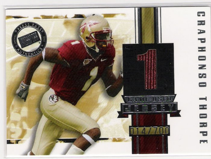 2005 PRESSPASS CRAPHONSO THORPE GAME-USED JERSEY CARD