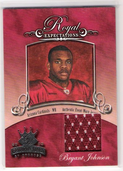 2003 DONRUSS GRIDIRON KINGS ROYAL EXPECTATIONS BRYANT JOHNSON CARDINALS EVENT WORN JERSEY CARD