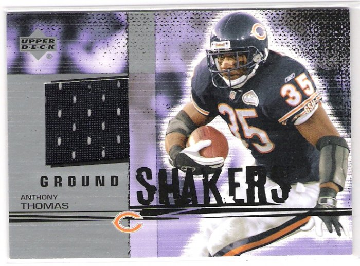 2002 UPPER DECK GROUND SHAKERS ANTHONY THOMAS BEARS GAME-USED JERSEY CARD