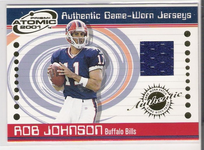 2001 PACIFIC ATOMIC ROB JOHNSON BILLS GAME-WORN JERSEY CARD