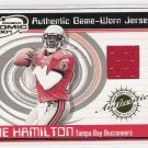 2001 PACIFIC ATOMIC JOE HAMILTON BUCCANEERS GAME-WORN JERSEY CARD
