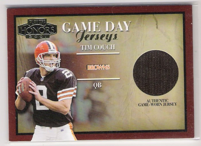 2001 PLAYOFF HONORS TIM COUCH BROWNS GAME DAY JERSEY CARD
