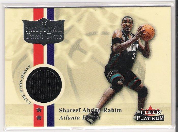 2001-02 FLEER PLATINUM SHAREEF ABDUR-RAHIM HAWKS NATIONAL PATCH TIME GAME WORN JERSEY CARD