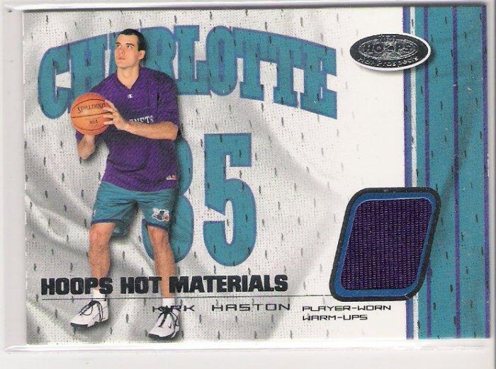 2001-02 HOOPS HOT MATERIALS KIRK HASTON HORNETS WARM-UPS CARD