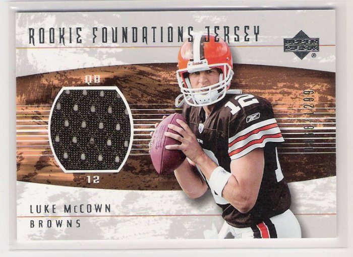 2004 UD ROOKIE FOUNDATIONS LUKE MCCOWN BROWNS JERSEY CARD