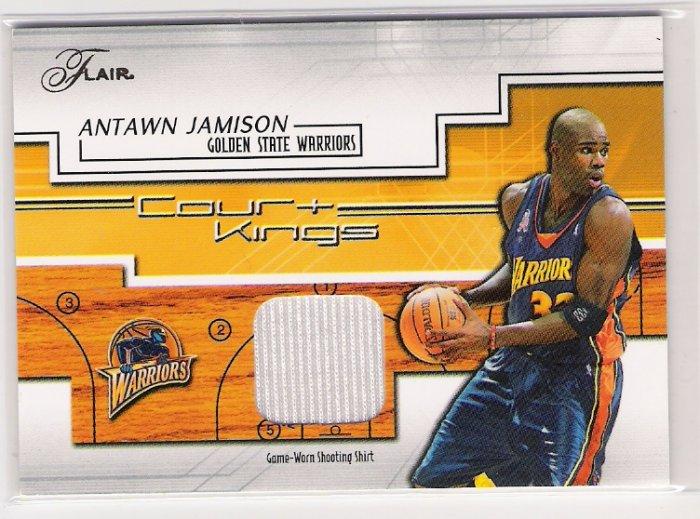 2002-03 FLEER FLAIR ANTAWN JAMISON GOLDEN STATE COURT KINGS SHOOTING SHIRT CARD