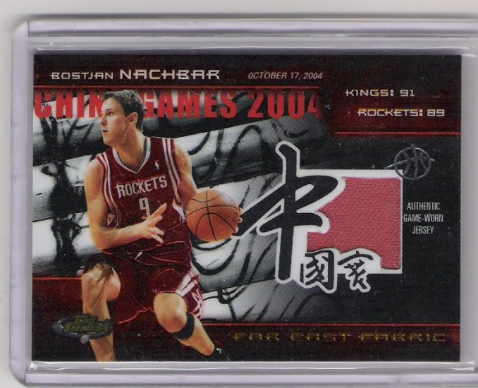 2005 TOPPS FINEST FAR EAST FABRIC BOSTJAN NACHBAR ROCKETS GAME-WORN JERSEY CARD #'D 074/100!