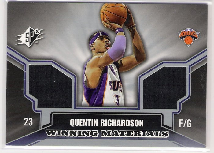 2005-06 SPX QUENTIN RICHARDSON KNICKS WINNING MATERIALS DUAL SHIRT AND WARM-UP CARD