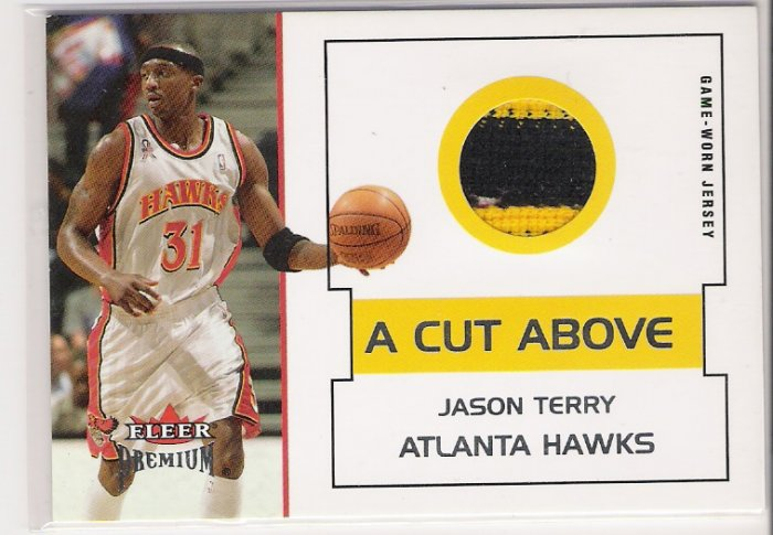 2002-03 FLEER PREMIUM JASON TERRY HAWKS 2 COLOR GAME-WORN JERSEY CARD