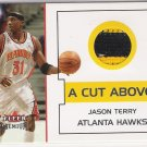 2002-03 FLEER PREMIUM JASON TERRY HAWKS 2 COLOR GAME-WORN JERSEY CARD