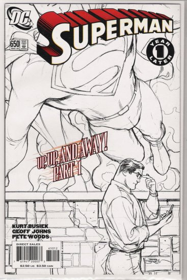 SUPERMAN #650 (2006) ONE YEAR LATER 2ND PRINT DODSON SKETCH COVER-NEVER READ!