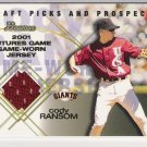 2001 BOWMAN DRAFT PICK & PROSPECTS CODY RAMSON GIANTS FUTURES GAME RELIC JERSEY CARD