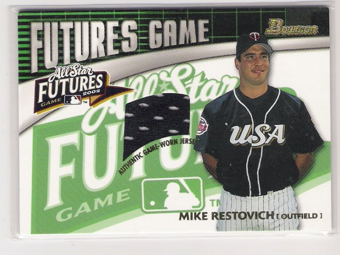 2003 BOWMAN FUTURES MIKE RESTOVICH GAME WORN JERSEY RELIC CARD