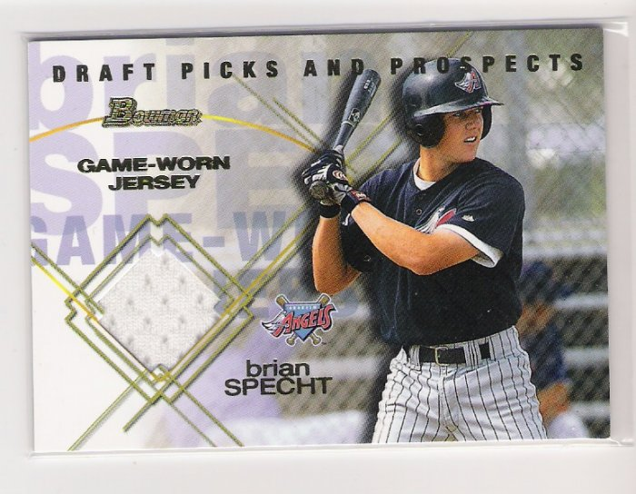 2001 BOWMAN DRAFT PICKS AND PROSPECTS BRIAN SPECHT ANGELS JERSEY RELIC CARD