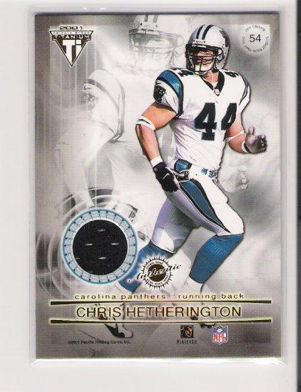 2001 TITANIUM CHRIS HETHERINGTON/DONALD HAYES PANTHERS DUAL GAME-WORN JERSEY CARD