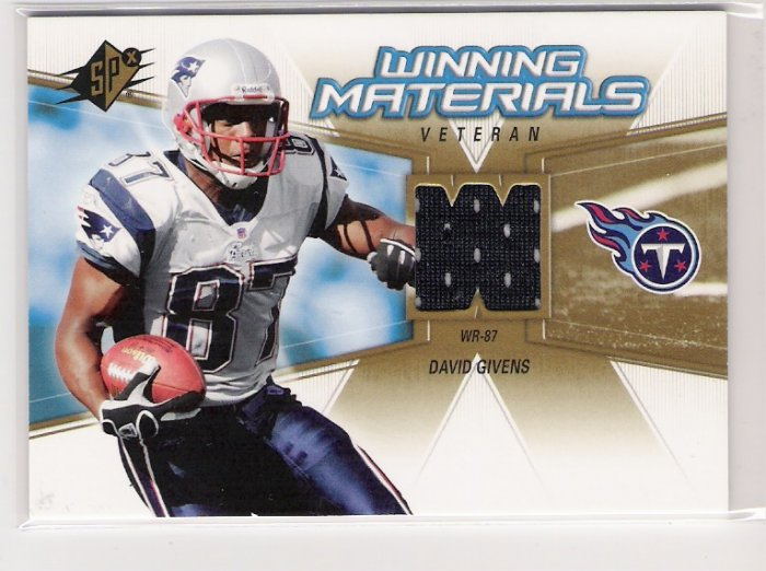 2006 SPX DAVID GIVEN TITANS WINNING MATERIALS VETERAN GAME USED CARD