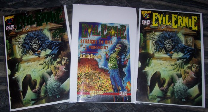 WIZARD EVIL ERNIE LOT WITH RARE GREEN FOIL 1/2 COVER-NEVER READ!