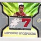 2007-08 UPPER DECK SPX ANDREA BARGNANI RAPTORS WINNING MATERIALS GAME USED CARD