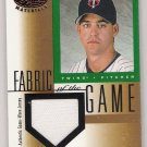 2001 LEAF CERTIFIED MATERIALS ERIC MILTON TWINS GAME WORN JERSEY CARD