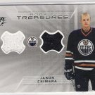 2001-02 SPX ROOKIE TREASURES JASON CHIMERA OILERS DOUBLE JERSEY CARD