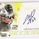 2003 BOWMAN SIGNS OF THE FUTURE LABRANDON TOEFIELD JAGUARS CERTIFIED AUTOGRAPH CARD