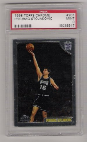 1998 TOPPS CHROME PREDRAG STOJAKOVIC GRADED ROOKIE CARD PSA 9!