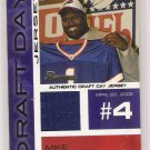 2002 BOWMAN MIKE WILLIAMS BILLS DRAFT DAY JERSEY CARD