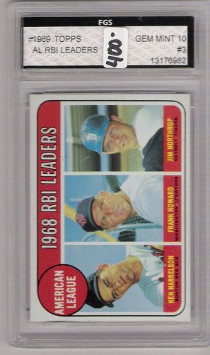 1969 TOPPS AL RBI LEADERS HARRELSON/HOWARD/NORTHRUP CARD GRADED FGS 10!