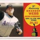 2008 TOPPS 5TH ANNIVERSARY BRANDON WEBB DIAMONDBACKS ALL STAR ROOKIE CARD