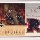 2001-02 UPPER DECK EDDIE GRIFFIN ROCKETS ROOKIE THREADS JERSEY CARD