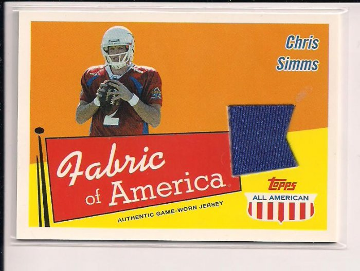 2003 TOPPS ALL AMERICAN CHRIS SIMMS FABRIC OF AMERICA JERSEY CARD