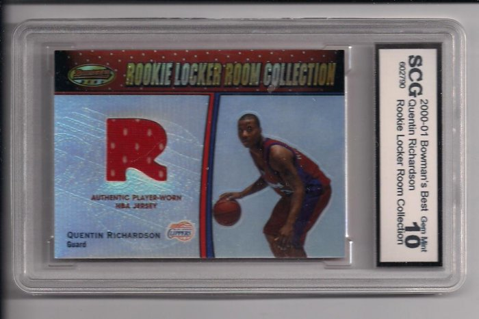 2000-01 BOWMAN'S BEST QUENTIN RICHARDSON CLIPPERs LOCKER ROOM ROOKIE JERSEY GRADED SCG 10!