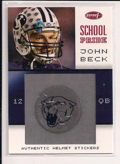 2007 ASPIRE JOHN BECK BYU SCHOOL PRIDE HELMET STICKER CARD