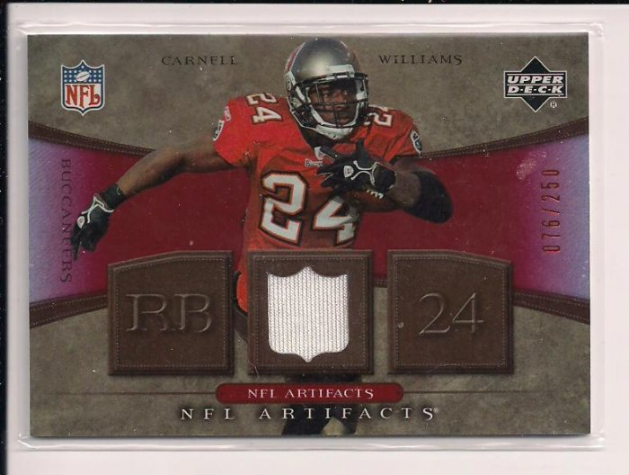 2007 UPPER DECK NFL ARTIFACTS CARNELL WILLIAMS BUCCANEERS JERSEY CARD #'D 076/250!