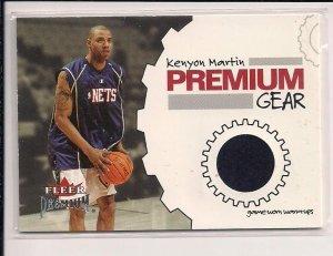 2002-03 FLEER PREMIUM KENYON MARTIN NETS GAME WORN WARM-UP CARD