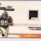 2001 FLEER HOT PROSPECTS JUSTIN SMITH BENGALS ROOKIE POSTMARKS JERSEY CARD