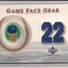2003 UPPER DECK MARK PRIOR CUBS GAME FACE GEAR JERSEY CARD