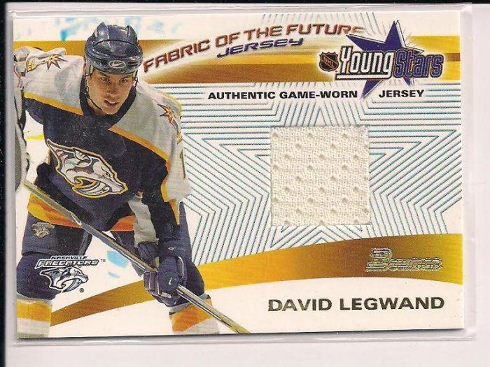 2001-02 BOWMAN YOUNG STARS DAVID LEGWAND PREDATORS RELIC JERSEY CARD