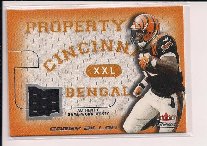 2001 FLEER FOCUS COREY DILLON PROPERTY OF BENGALS JERSEY CARD