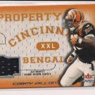 2001 FLEER FOCUS COREY DILLON PROPERTY OF BENGALS JERSEY CARD