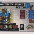 ARTOSE PINNER LIONS 2002 PLAYOFF ABSOLUTE ROOKIE PREMIERE MATERIALS JERSEY/BALL CARD