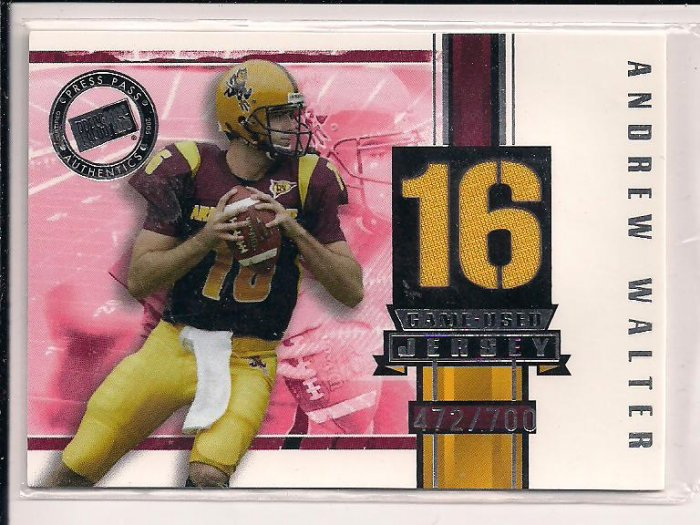 ANDREW WALTER RAIDERS 2005 PRESSPASS GAME-USED ROOKIE JERSEY CARD