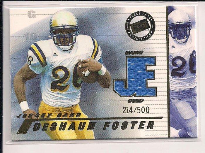 DESHAUN FOSTER PANTHERS 2002 PRESSPASS JERSEY CARD