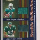 JASON AVANT EAGLES/DEREK HAGAN DOLPHINS 2006 DONRUSS THREADS ROOKIE COLLECTION JERSEYS