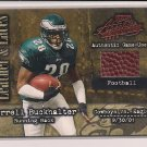 CORRELL BUCKHALTER EAGLES 2002 PLAYOFF ABSOLUTE LEATHER & LACES GAME USED FOOTBAL CARD